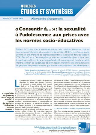 couverture Jeunesses : études et synthèses numéro 29