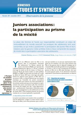 couverture Jeunesses : études et synthèses numéro 30
