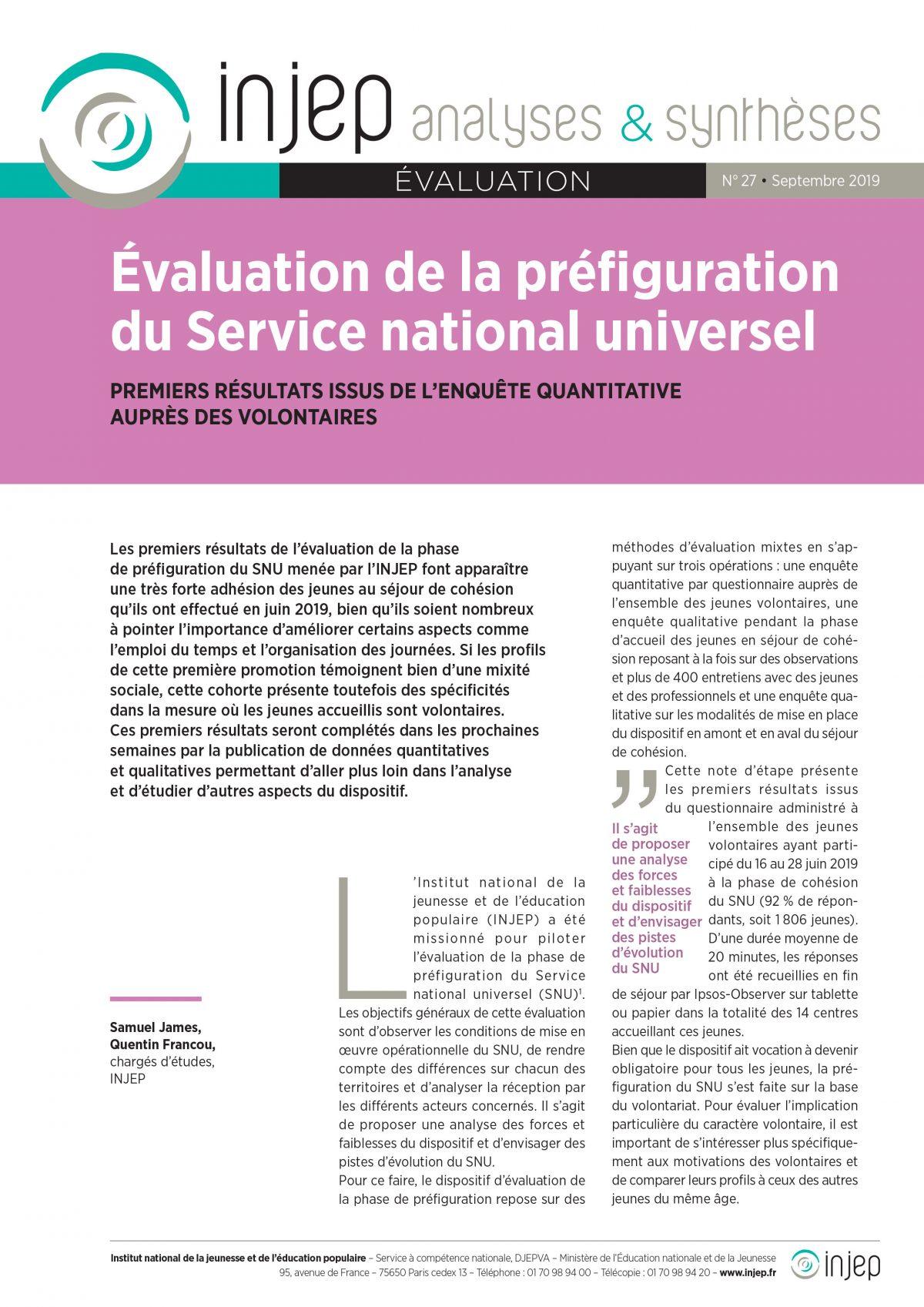 Evaluation de la préfiguration du Service national universel