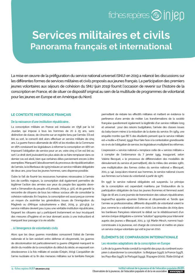 Services militaires et civils, panorama français et international