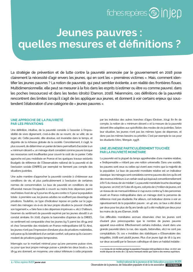 Jeunes pauvres : quelles mesures et définitions ?