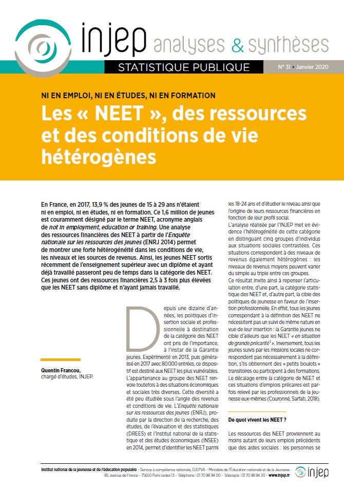 Les « NEET », des ressources et des conditions de vie hétérogènes