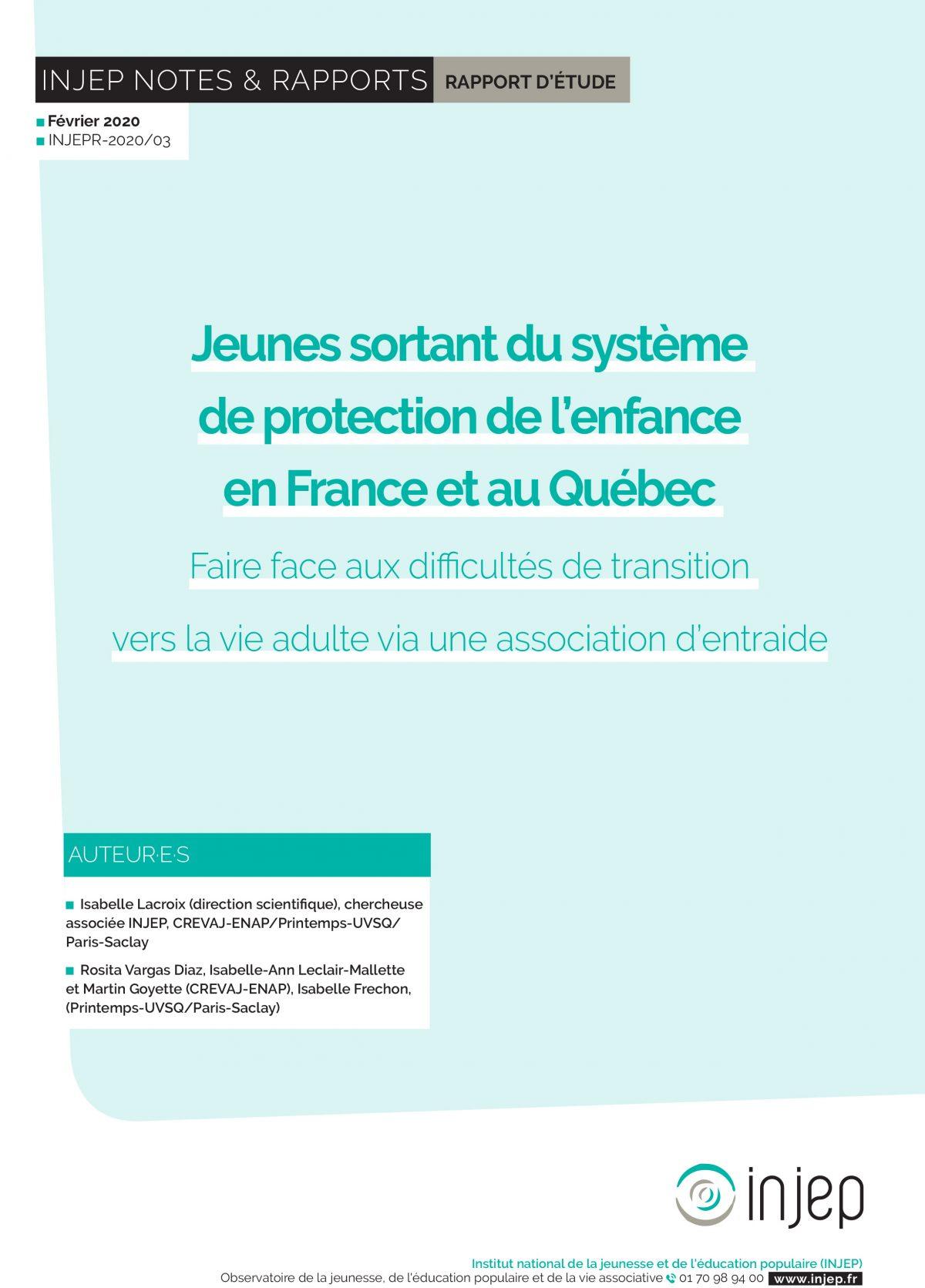 Jeunes sortant du système de protection de l'enfance en France et au Québec