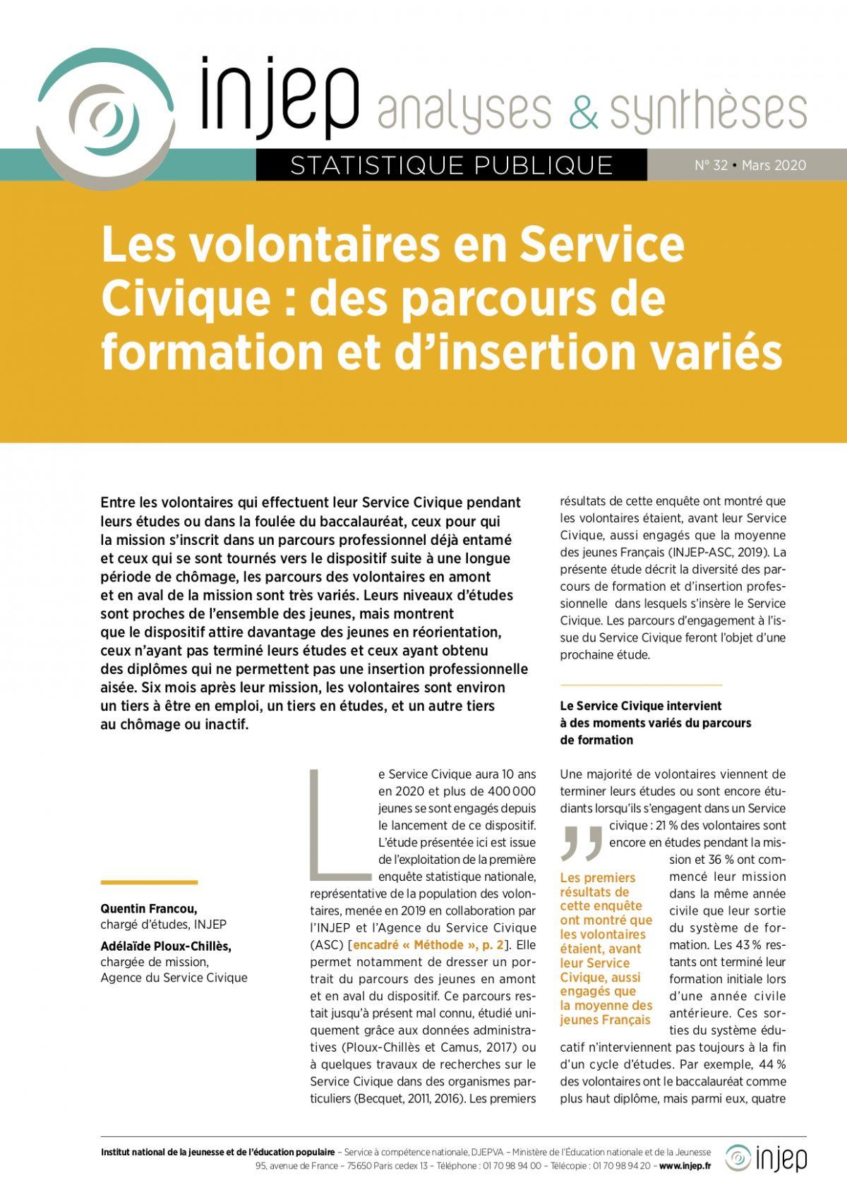 Les volontaires en Service Civique : des parcours de formation et d'insertion variés