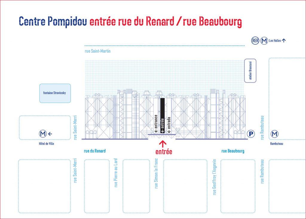 Plan d'accès au centre Pompidou par rue Beaubourg
