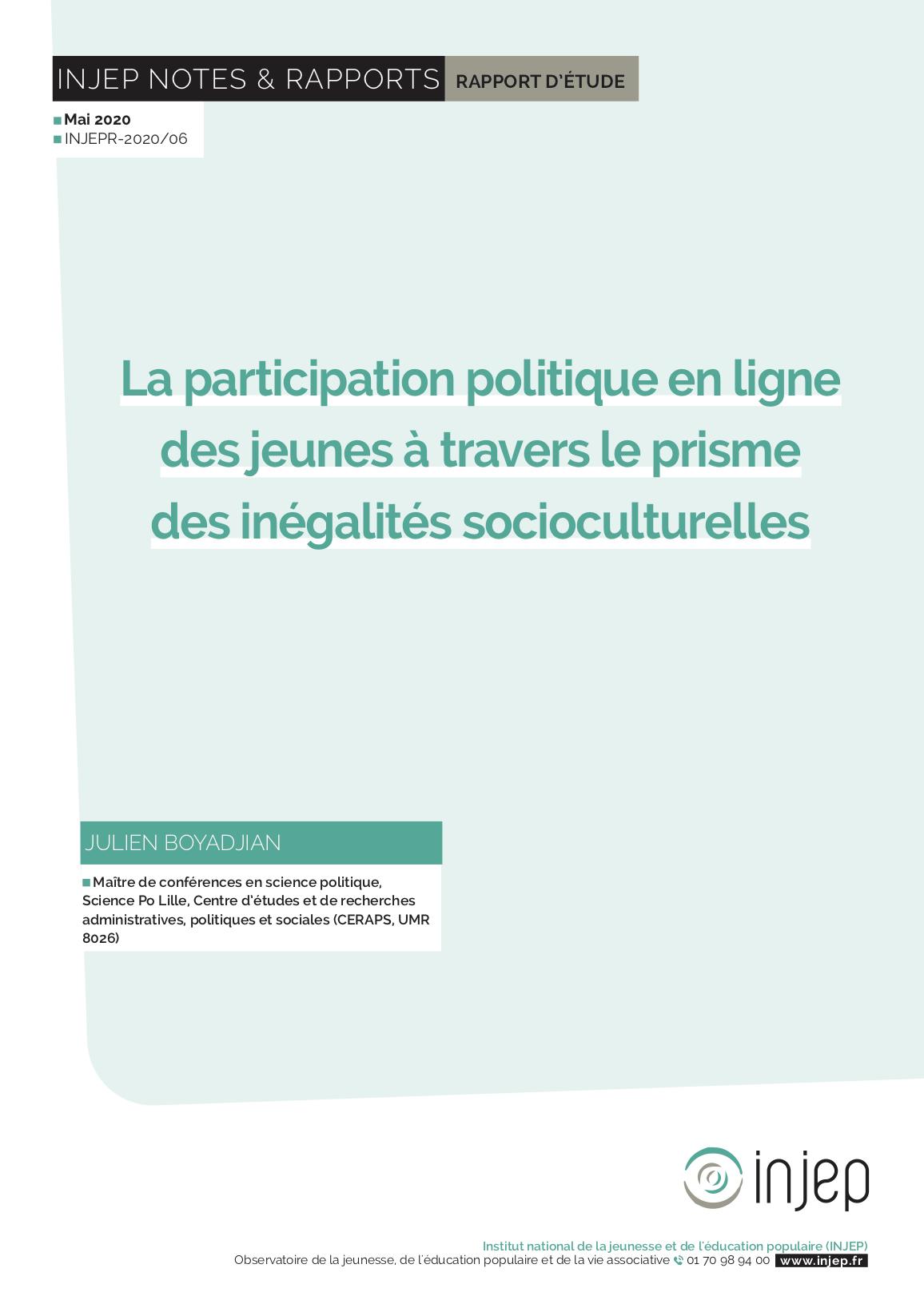 La participation politique en ligne des jeunes à travers le prisme des inégalités socioculturelles
